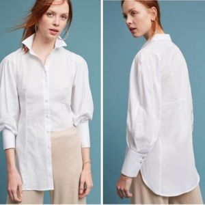 NEW Anthropologie White Button Down Collar Shirt